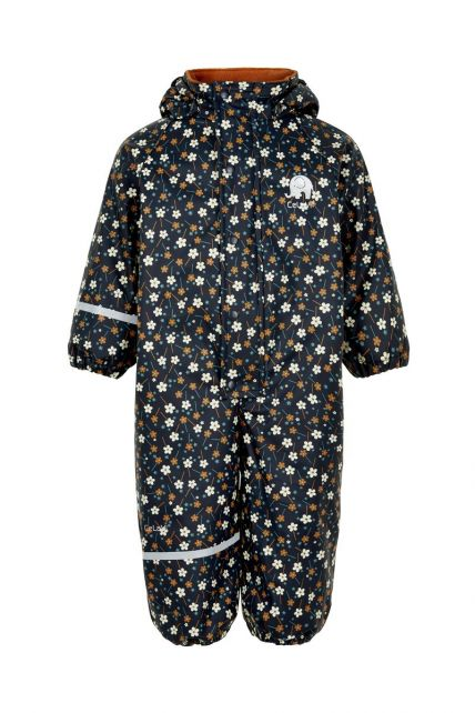 CeLaVi---Rainsuit-with-fleece-for-girls---Flowers---Dark-blue