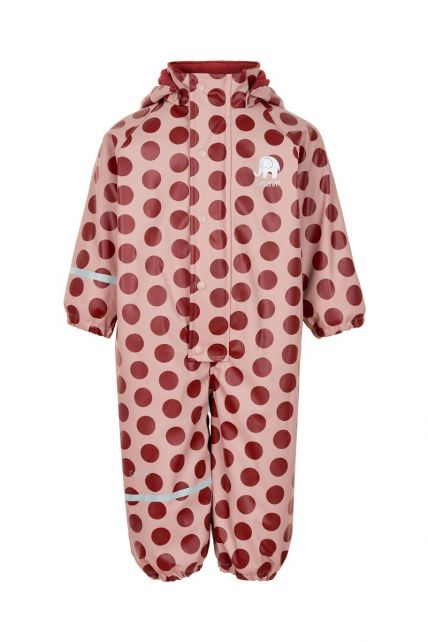 CeLaVi---Rainsuit-with-fleece-for-girls---Dots---Pink