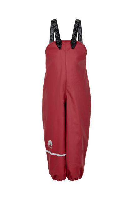 CeLaVi---Rain-pants-with-fleece-for-kids---Bib-or-elastic-waist---Dark-red