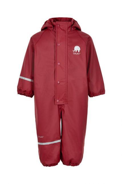 CeLaVi---Rainsuit-with-fleece-for-kids---Solid---Dark-red