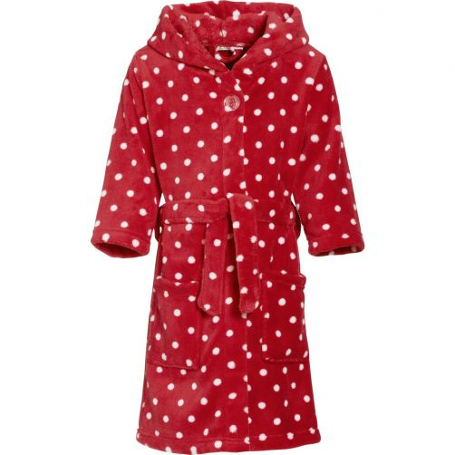 Playshoes---Fleece-bathrobe-for-kids---Dots---Red