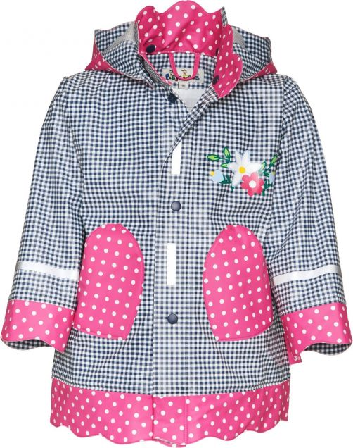 Playshoes---Rainjacket-with-check-&-Dots---Navy/Pink
