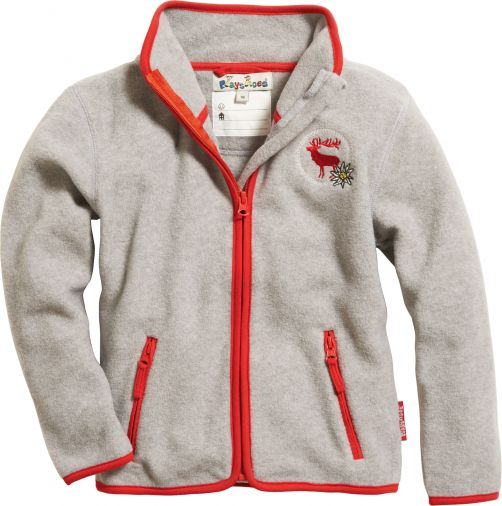 Playshoes---Fleece-jack-with-long-sleeves---Gray-melange/Red