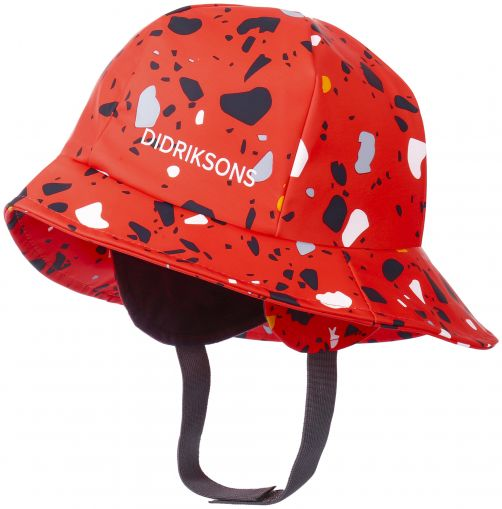 Didriksons---Rain-hat-for-children---Southwest-Printed---Poppy-Red