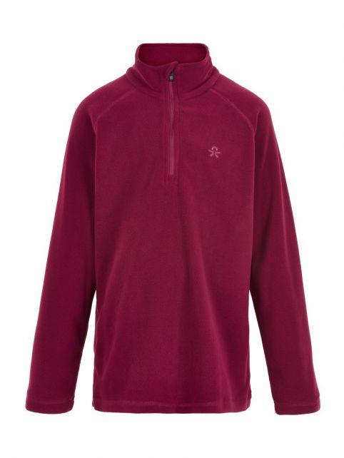 Color-Kids---Fleece-pullover-with-half-zip-for-children---Solid---Beet-Red