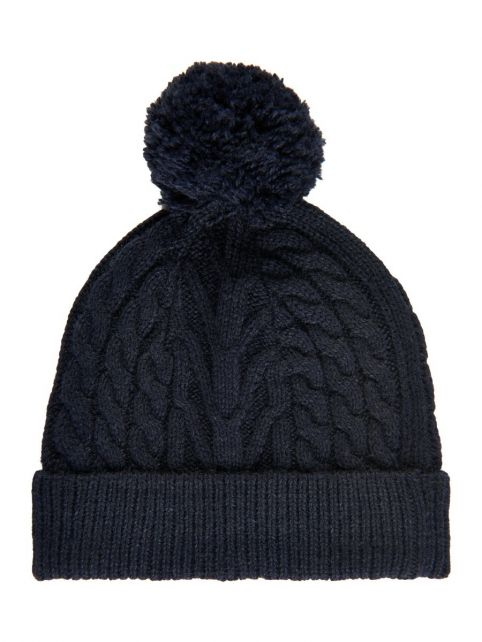 Color-Kids---Beanie-with-pompom-for-children---Cable-Knit---Dark-blue