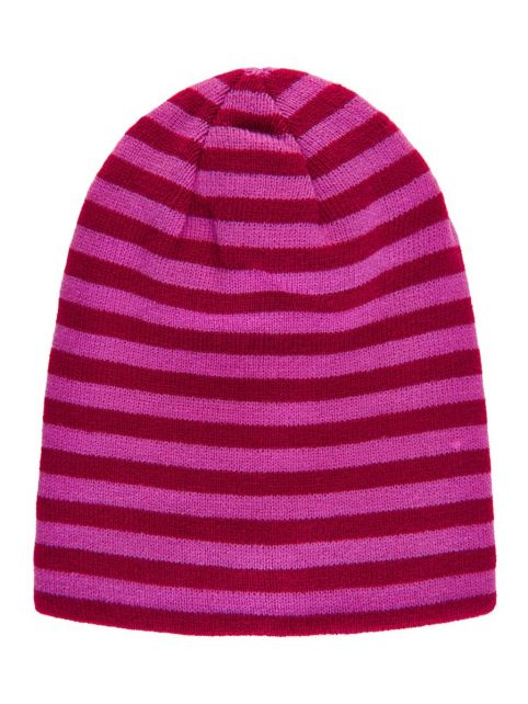 Color-Kids---Reversible-beanie-for-children---Uni-and-Stripes---Beet-Red