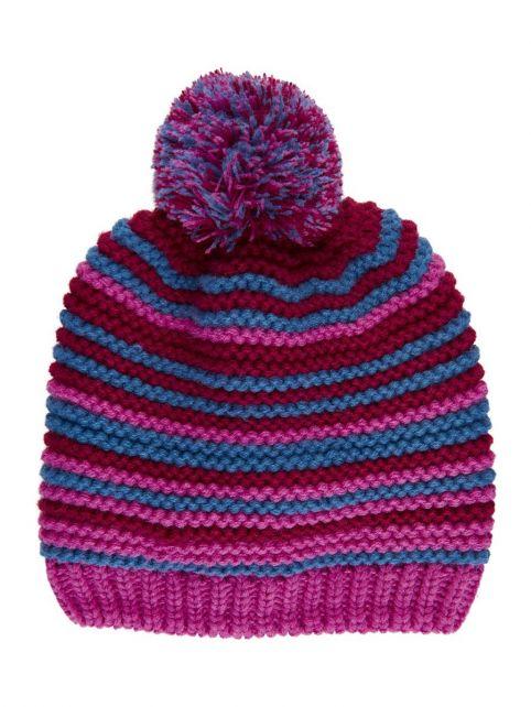 Color-Kids---Beanie-with-fleece-for-girls---Stripes---Rose-Violet