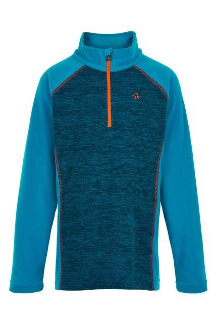 Color-Kids---Fleece-pullover-with-half-zip-for-boys---Melange---Surf-Blue