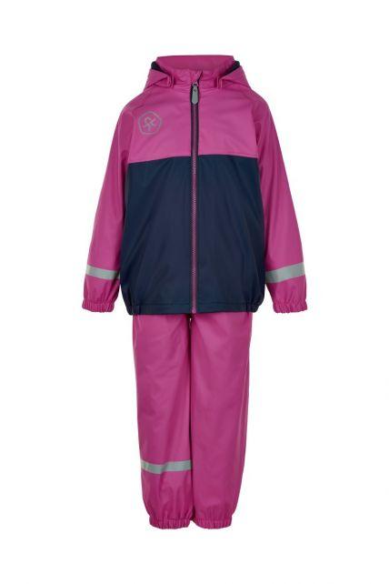 Color-Kids---Rainsuit-with-fleece-for-girls---Colorblock---Rose-Violet