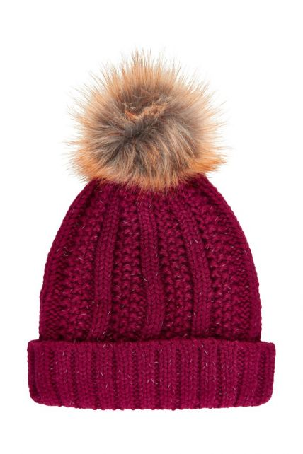 Color-Kids---Reflective-beanie-for-children---Cable-Knit---Beet-Red