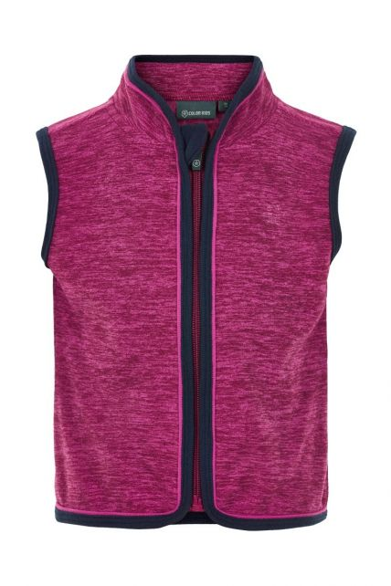 Color-Kids---Fleece-waistcoat-for-babies---Melange---Beet-Red