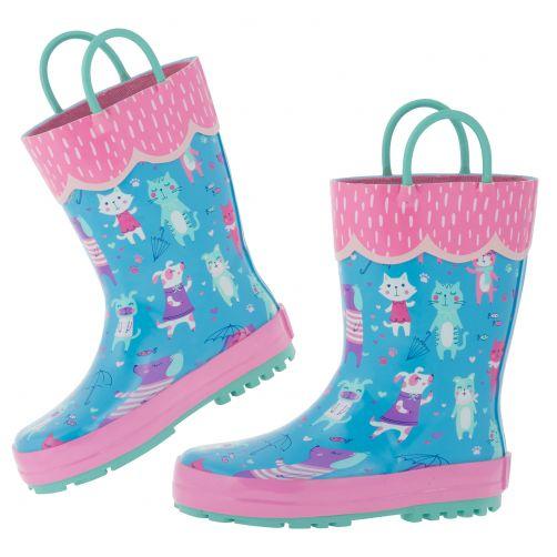 Stephen-Joseph---Rainboots-for-girls---Cats-&-Dogs---Light-blue/Pink