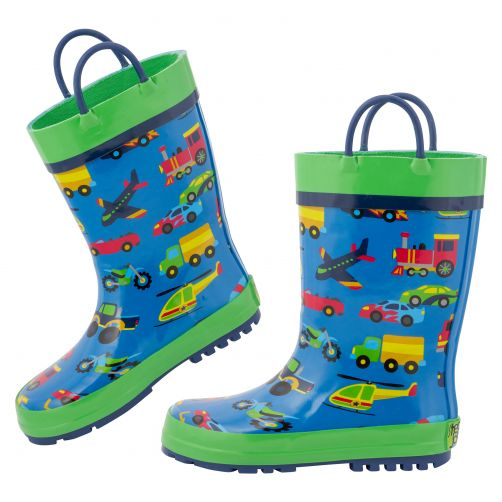 Stephen-Joseph---Rainboots-for-boys---Vehicles---Blue/Green