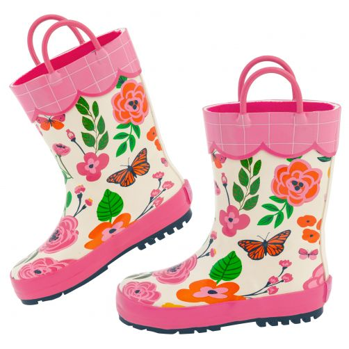 Stephen-Joseph---Rainboots-for-girls---Butterfly---Off-White/Pink
