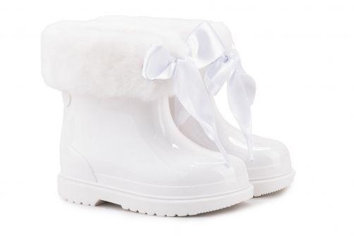 Igor---Rainboots-for-girls---Bimbi-Soft-high-gloss-with-bow---White