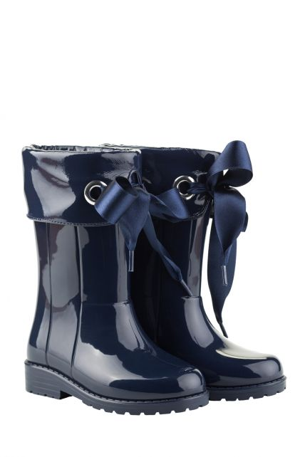 Igor---Rainboots-for-girls---Campera-Charol-high-gloss-with-bow---Navy