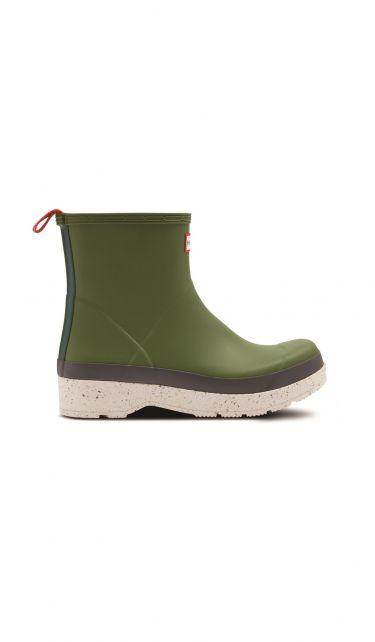 Hunter---Rainboots-for-men---Play-Short-Speckle-Sole---Moss/Purrey